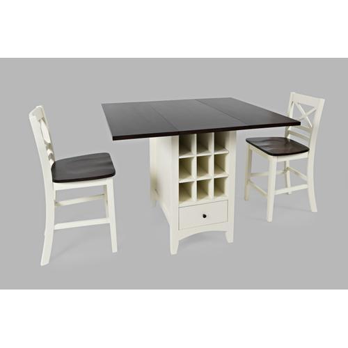 Jofran - Asbury Park Counter Drop Leaf Table W/(2) X Back Stools