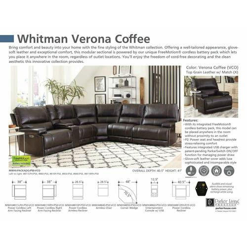 Parker House - WHITMAN - VERONA COFFEE - Powered By FreeMotion Cordless Armless Chair