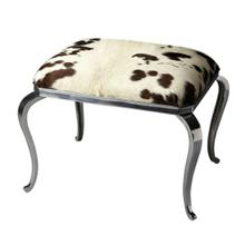 This ottoman has a definite flair for the dramatic. Crafted from cast aluminum and wood products, it features a genuine cowhide seat. Completing the look are classically styled cabriole legs in a nickel plated finish for just the right touch of bling. Note, the cowhide may vary in pattern and color from the image shown.