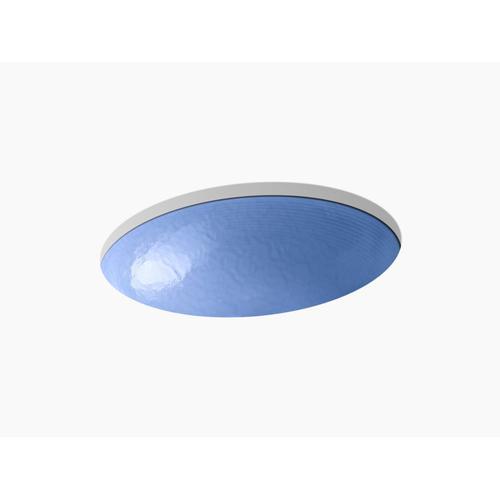 Opaque Sapphire Glass Undermount Bathroom Sink In Opaque Sapphire