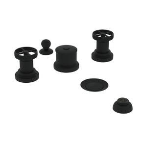 Campo Five Hole Bidet Faucet - Matte Black with Industrial Metal Wheel Handle
