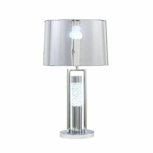 ACME Olsen Table Lamp - 40355 - Glam - LED Light, Clear Acrylic, Metal, Shade (PVC) - Acrylic and Chrome