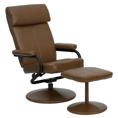 Contemporary Palomino Leather Recliner and Ottoman with Leather Wrapped Base