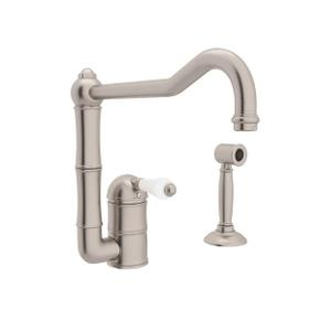 Acqui Single Hole Column Spout Kitchen Faucet with Sidespray and Extended Spout - Satin Nickel with White Porcelain Lever Handle