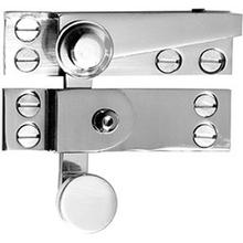 """See Details - Antique Brass Unlacquered Straight arm sash fastener with plain knob and lock, 2 3/4"""""""