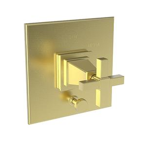 Satin Brass - PVD Balanced Pressure Tub & Shower Diverter Plate with Handle