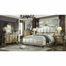 ACME Dresden II Queen Bed - 27820Q - Pearl White PU & Gold Patina