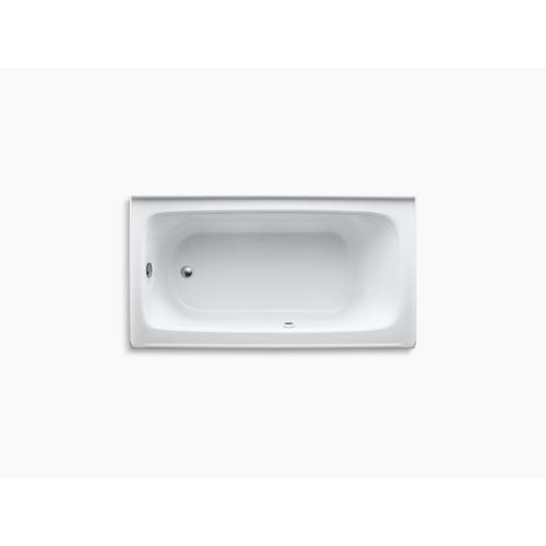 "White 60"" X 32"" Alcove Bath With Bask Heated Surface, Integral Apron, and Left-hand Drain"
