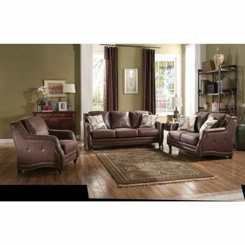 ACME Nickolas Sofa w/2 Pillows - 52065 - Chocolate Polished Microfiber