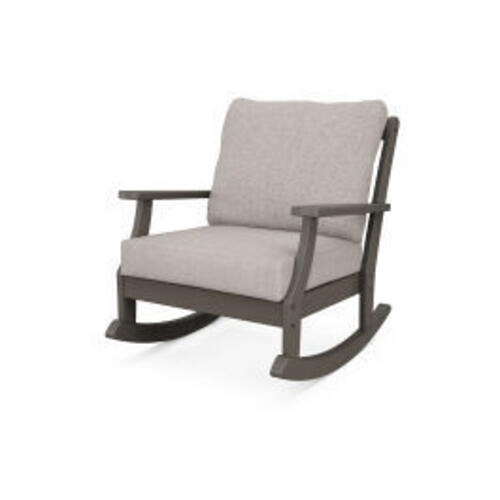 Polywood Furnishings - Braxton Deep Seating Rocking Chair in Vintage Coffee / Weathered Tweed