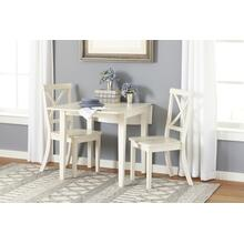 Everyday Classics Drop Leaf Table With 2 X Ladder Back Chairs- Linen