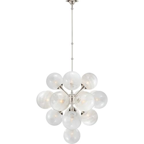 AERIN Cristol 17 Light 33 inch Polished Nickel Tiered Chandelier Ceiling Light, Large