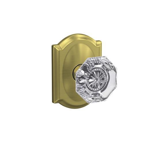 Custom Alexandria Non-Turning Glass Knob with Camelot Trim - Satin Brass