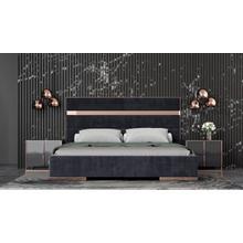 View Product - Nova Domus Cartier Modern Black Velvet & Rosegold Bed