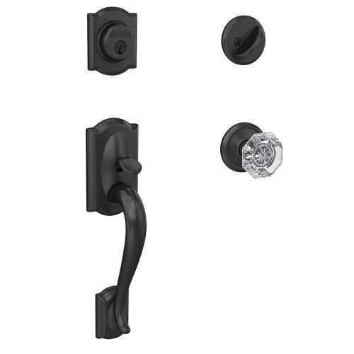Custom Camelot Single Cylinder Handleset and Interior Alexandria Glass Knob with Alden Trim - Matte Black