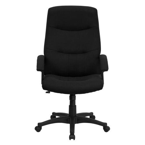 High Back Black Fabric Executive Swivel Chair with Arms