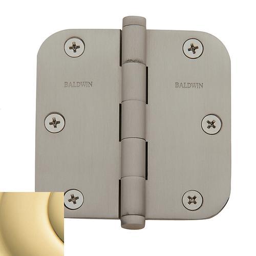 "Baldwin - Non-Lacquered Brass 5/8"" Radius Corner Hinge"