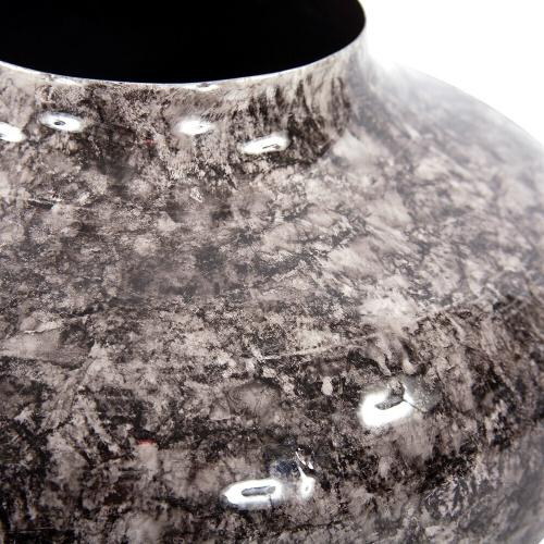 Howard Elliott - Round Black Marbled Iron Pod Vase, Large