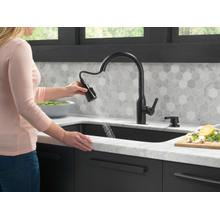 Matte Black Single Handle Pull-Down Kitchen Faucet with Soap Dispenser and ShieldSpray ® Technology