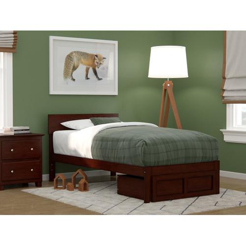 Atlantic Furniture - Boston Twin Bed with Foot Drawer in Walnut