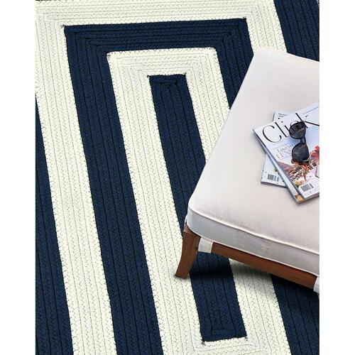 "Cabana Stripes Navy Blue White - Concentric Rectangle - 20"" x 30"""