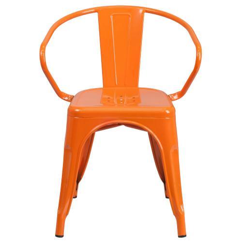 Orange Metal Indoor-Outdoor Chair with Arms