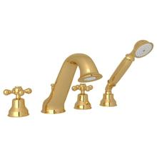 See Details - Arcana 4-Hole Deck Mount Tub Filler and Handshower - Italian Brass with Cross Handle