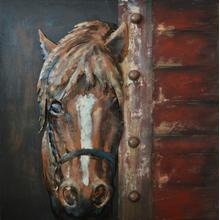 Sheltered - Brown Horse 20x20 Wood and Metal Wall Art