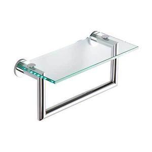 """Polished Chrome 12"""" Shelf with Towel Bar"""