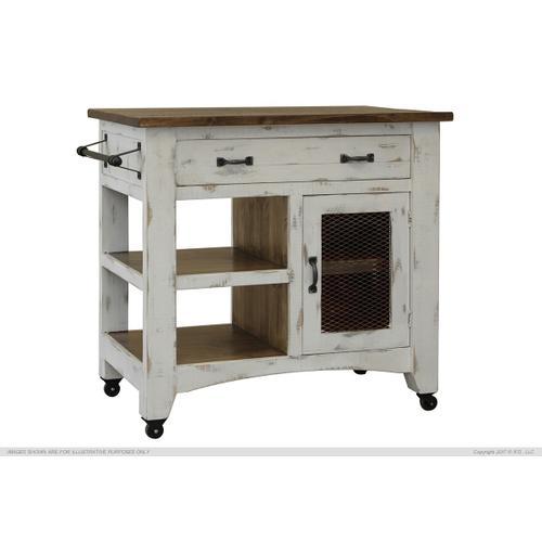 International Furniture Direct - 1 Drawer, 1 Mesh Door Kitchen Island - White finish