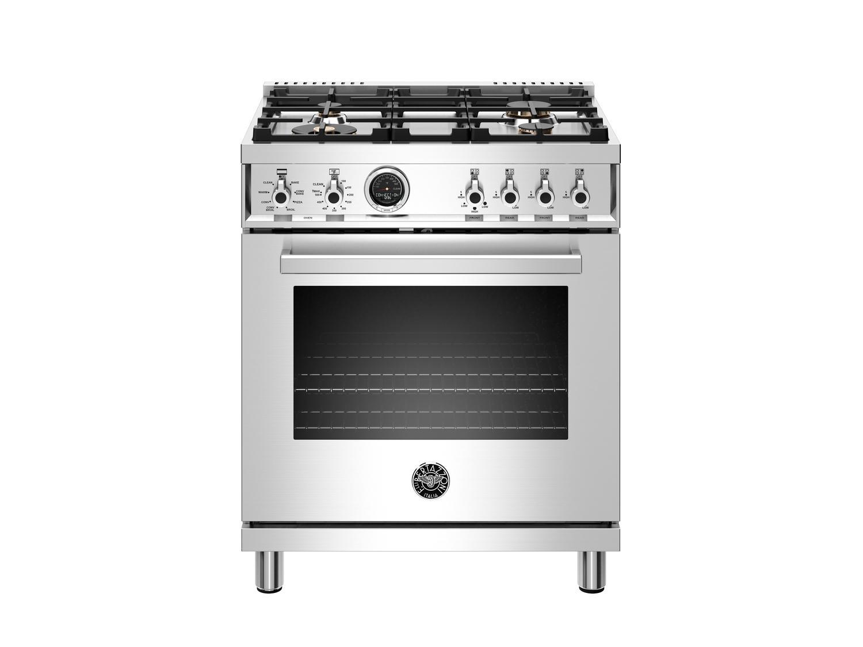 Bertazzoni30 Inch Dual Fuel Range, 4 Brass Burner, Electric Self-Clean Oven Stainless Steel