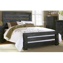 5/0 Queen Slat Headboard - Distressed Black Finish