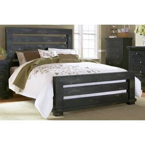 5/0 Queen Slat Bed - Distressed Black Finish