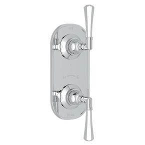 San Giovanni Trim for 1/2 Inch Thermostatic and Diverter Control Rough Valve - Polished Chrome with Metal Lever Handle