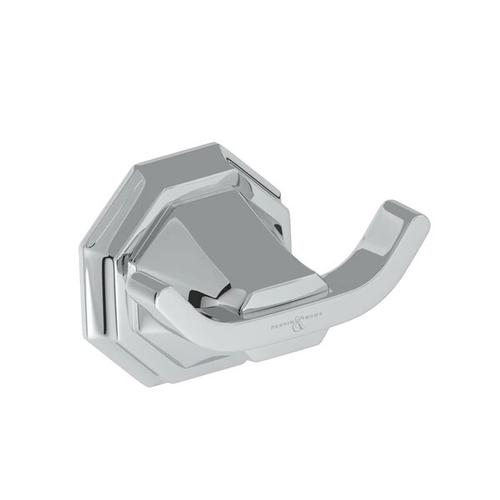 Deco Wall Mount Double Robe Hook - Polished Chrome