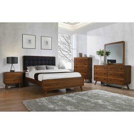 Robyn Mid-century Modern Dark Walnut California King Five-piece Set