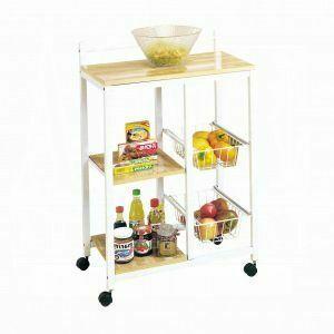 ACME Sitara Kitchen Cart - 02668 - White & Natural