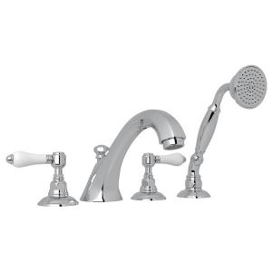 Polished Chrome Hex 4-Hole Deck Mount Spout Tub Filler With Handshower with White Porcelain Lever Product Image