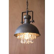 metal pendant lamp with hanging gems