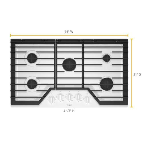 Whirlpool - 36-inch Gas Cooktop with EZ-2-Lift™ Hinged Cast-Iron Grates