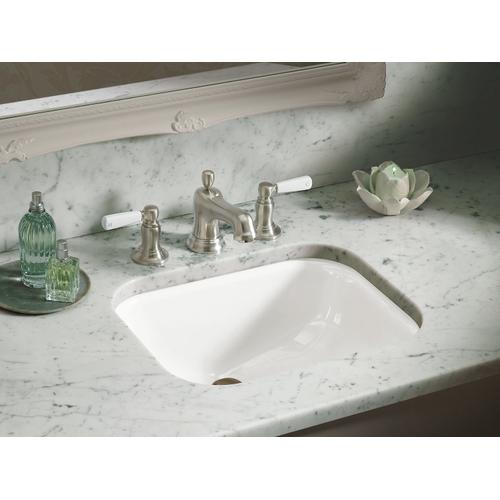 "White Undermount Bathroom Sink With 8"" Oversize Centerset Faucet Holes"