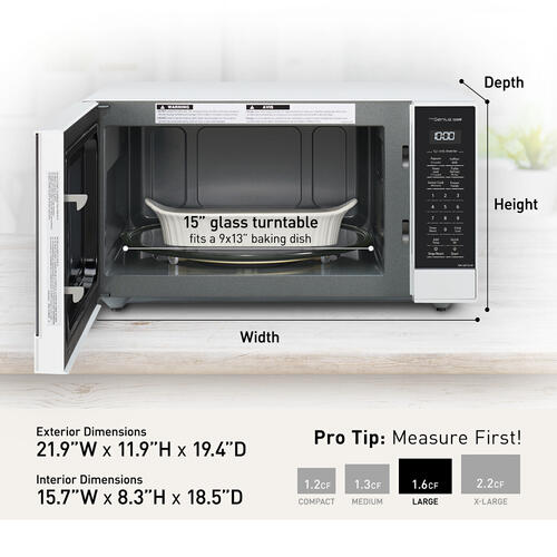 Panasonic 1.6 Cu. Ft. 1250W White Microwave Oven with Inverter and Genius Sensor Technology - NN-SN75LW