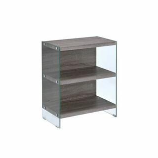 ACME Armon Bookshelf - 92374 - Gray Oak & Clear Glass