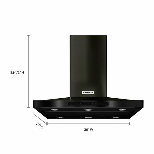 """KitchenAid Black Stainless - 36"""" Island-Mount, 3-Speed Canopy Hood - Black Stainless Steel with PrintShield™ Finish"""