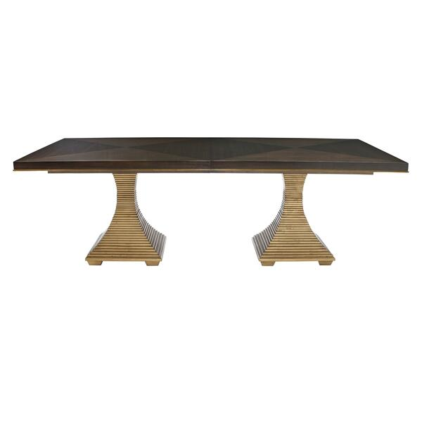 Jet Set Double Pedestal Dining Table in Caviar (356)