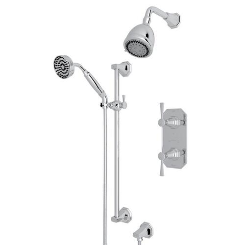 Polished Chrome Perrin & Rowe Deco Thermostatic Shower Package with Deco Metal Lever