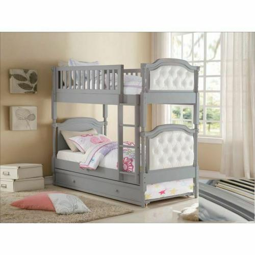 ACME Pearlie Twin/Twin Bunk Bed - 37690 - Antique Gray & Pearl PU