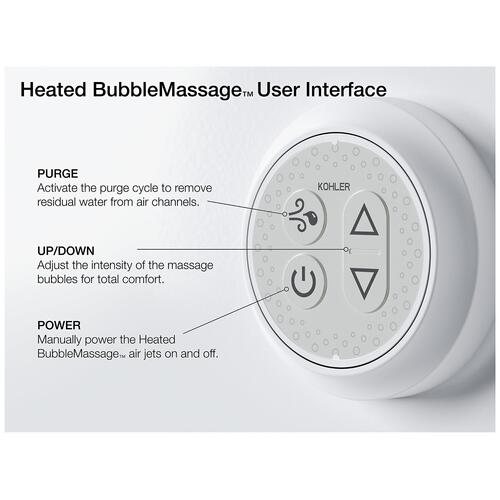 "White 72"" X 36"" Drop-in Heated Bubblemassage Air Bath With Bask Heated Surface"