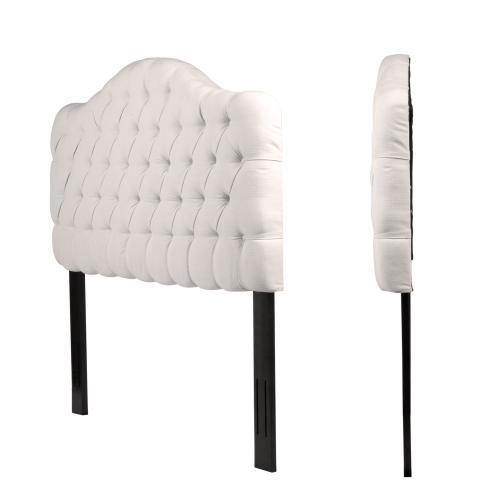 Leggett and Platt - Martinique Button-Tuft Upholstered Headboard with Adjustable Height, Ivory Finish, Full / Queen
