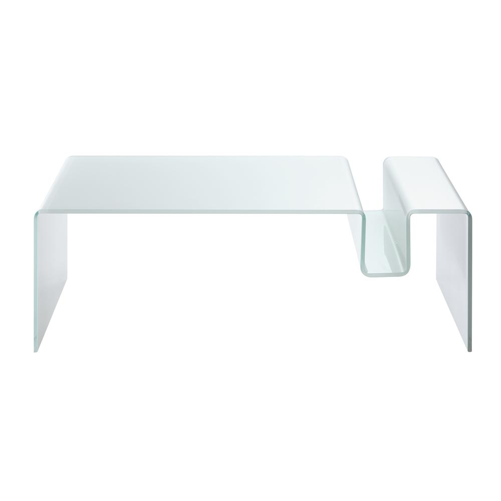 The Figaro Coffee Table In White Bent Glass